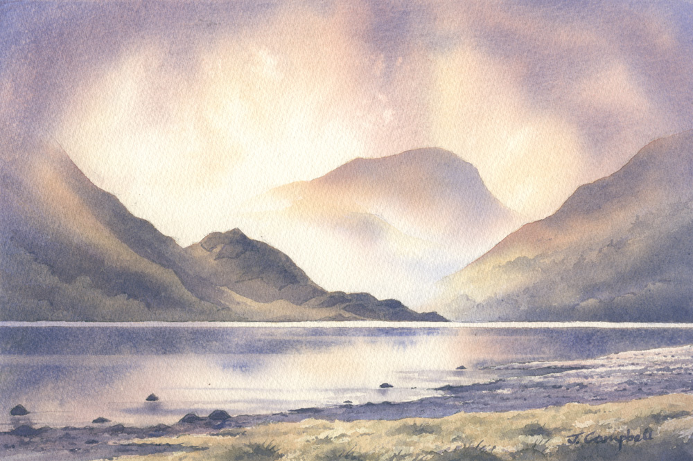 Watercolour Painting of Silver point, Ullswater.